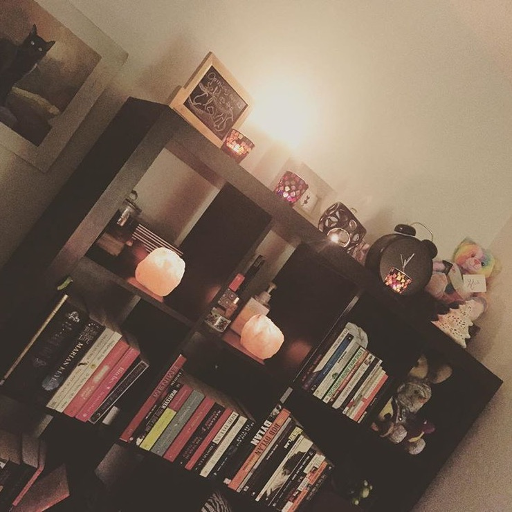 My favourite books, sentimental items, salt lamps which purify the air, super-charged crystals and candles make my room feel like a retreat away from the madness of the outside world.